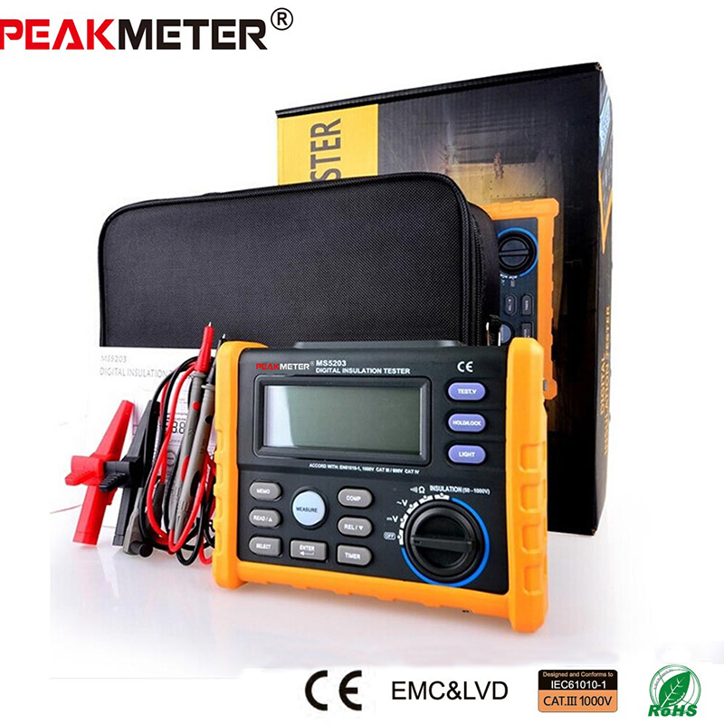 PEAKMETER MS5203 Analog & Digital 0.1~1000V Insulation Resistance Tester megger meter 0.01~10G Ohm with black bag image