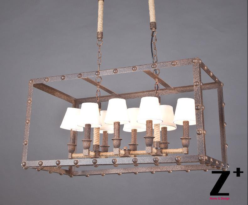 Američki stil industrije Luster kutija za željezo Svjetiljka 8 E14 - Unutarnja rasvjeta - Foto 1