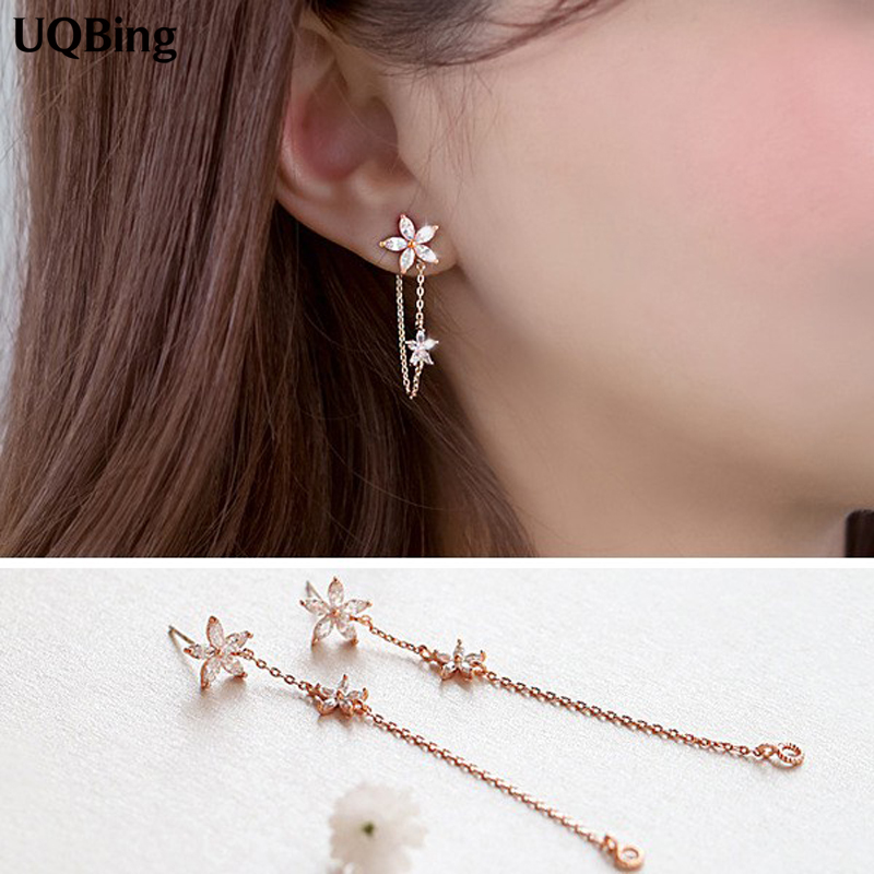 Korean Crystal Flower Asymmetry Stud Earrings 925 Sterling Silver Stud Earrings Jewelry Pendientes Brincos Fashion Jewelry