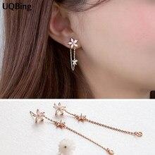 Boucles d'oreilles en forme de fleur, bijoux coréens asymétriques, en argent Sterling 925, à la mode