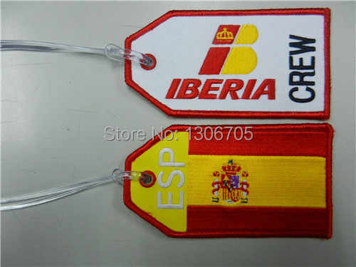 Iberia Airlines Crew Spanje Europa Vliegtuig Vlucht Stof Bagage ID Bag Tag