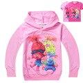Ropa de las muchachas Trolls Amapola Mágicos historieta impresa camiseta baby boy ruffle raglán año nuevo de primavera verano de la camiseta niños camisetas top