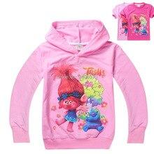 Девушки одежды Троллей Мака Магия мультфильм печатных тройник мальчик рябить реглан новый год весна лето футболки детские футболки топ(China (Mainland))