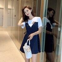 Korean Fake Two Pieces Patchwork Dress Women Blue Stripe Embroidery Cat Dresses Woman High Waist Cartoon Dresses Woman