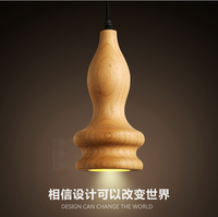 Nordic restaurant Art real wood gourd Lamp personality Dining room sitting room bedroom Single head droplight