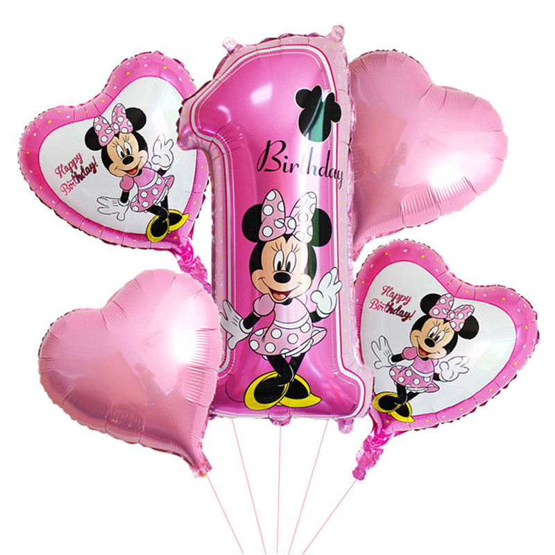 Taoqueen  Cartoon Hat 5pcs / Happy Birthday Party Decorative Balloons Mickey Mouse 18-inch Asterisk Hernia Foil Balloon Baby 1st