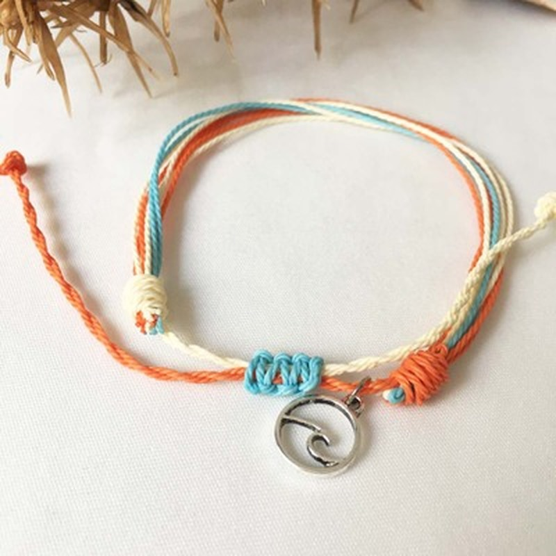 Fashion Big Round Wave Bracelets For Woman Contrast Handmade Weave Rope Chain Charm Bracelet Bohemia Beach Party Jewelry