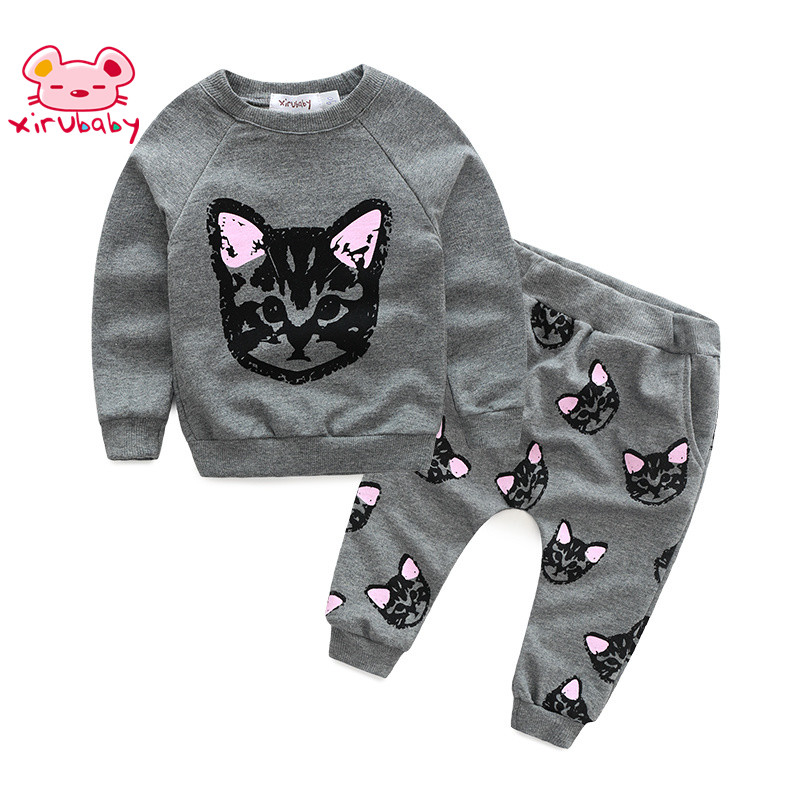 Xirubaby autumn cute childrens clothes sets cotton Cat Pattern Print Sweater for kids girl sweater suit
