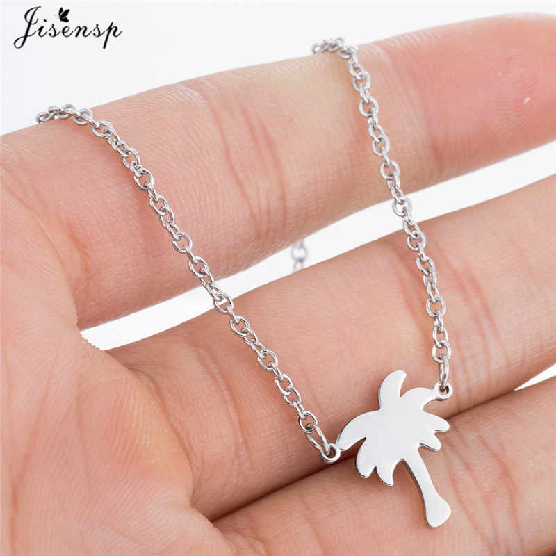 Jisensp Trendy Coconut Tree Plant Necklaces Pendants Long Chain Palm Tree Necklace Stainless Steel Jewelry Gift Collar Mujer