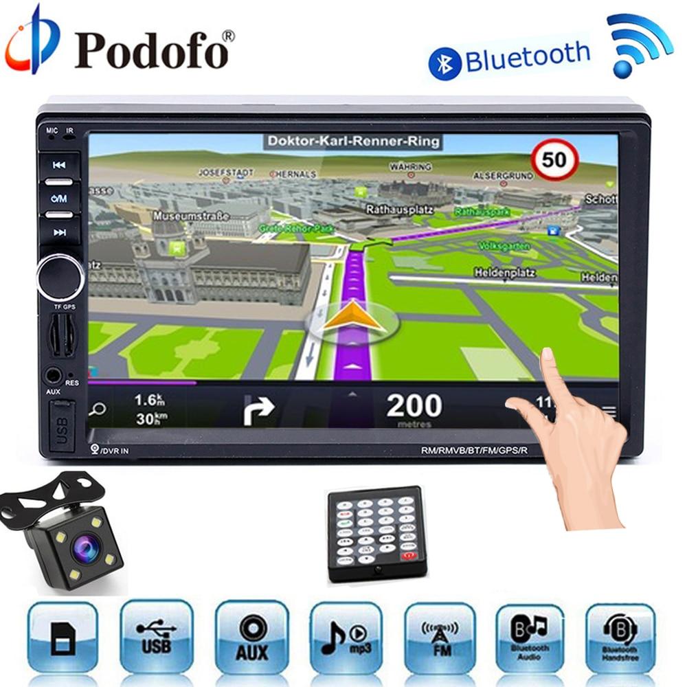 Podofo Car Multimedia Player 2 din Car Radio DVD GPS Navigaiton Universal Autoradio Bluetooth Touch MP5 Player TF USB FM Camera