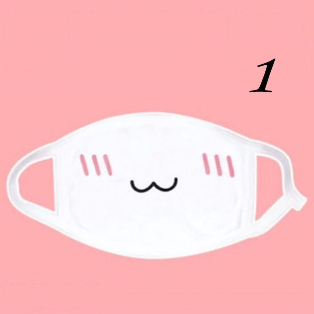 1PC Anime Kaomoji-kun Emotiction Mouth-muffle Women Girls Health Care Kawaii Cotton Anti-Dust Winter Face Mask White Color