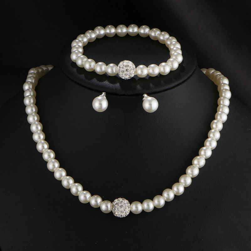 Fashion 3 pcs Charm Imitation Pearl Gold-Color Clear Crystal Top Elegant Party Gift Trendy Crystal Ball Pearl Jewelry Sets