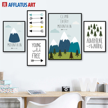 AFFLATUS Mountain Arrow Forest Nordic Poster Wall Art Canvas Painting Posters And Prints Pictures For Living Room Kids