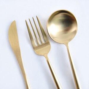 Image 3 - 로즈 골드 식기 세트 스테인레스 스틸 칼 붙이 세트 서양 식기 럭셔리 포크 티스푼 나이프 칼 세트 포크 스푼