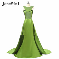 JaneVini 2018 Luxurious Mermaid Wedding Bridesmaid With Overskirt Satin Beading Long Bridesmaid Sweep Train Bride Formal Gowns