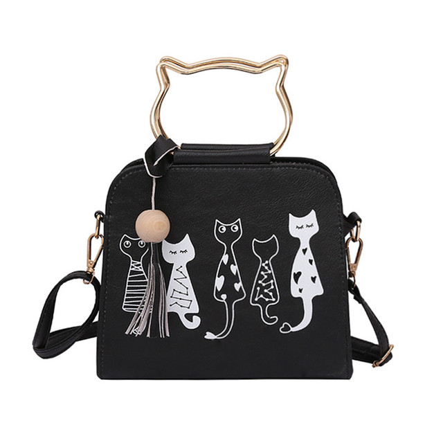 Women's Crossbody Handbags With Cute Cat Diagrams