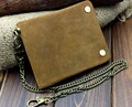 Vintage Biker Trucker Motorcycle Leather Bifold Snap Wallet W/ Chain