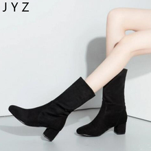 Fashion New Womens Mid Calf Boots High Heels Casual Shoes With Fur Winter Size 40 41 42 43 aa0200