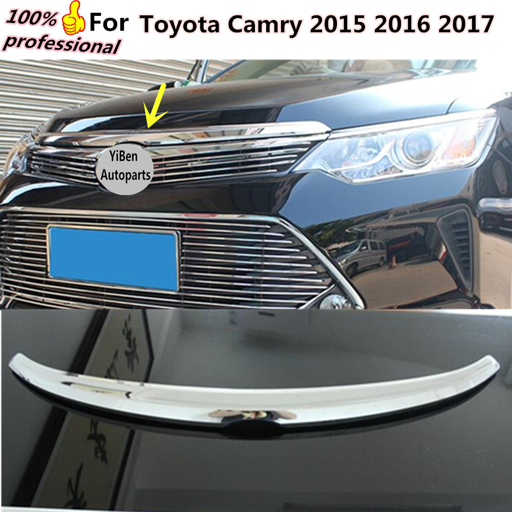 Car garnish cover ABS Chrome front engine Machine grille upper hood lid trim lamp 1pcs for Toyota Camry 2015 2016 2017 for nissan x trail xtrail t32 rogue 2014 2015 2016 abs chrome front engine machine grille upper hood stick lid trim lamp 1