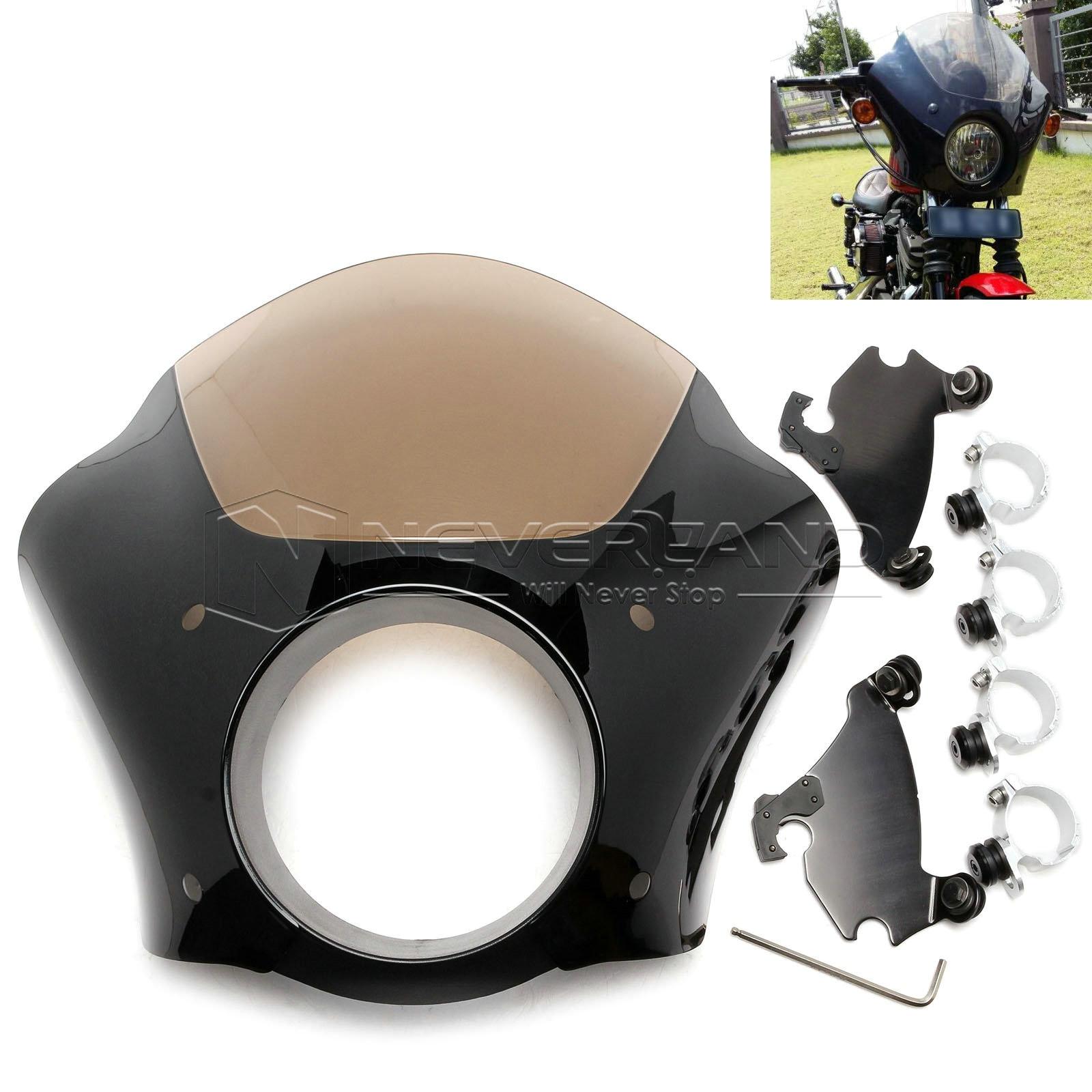 Black Gauntlet Headlight Fairing W Trigger Lock Mount Kit For Harley XL 1200 883 Freeshipping D15