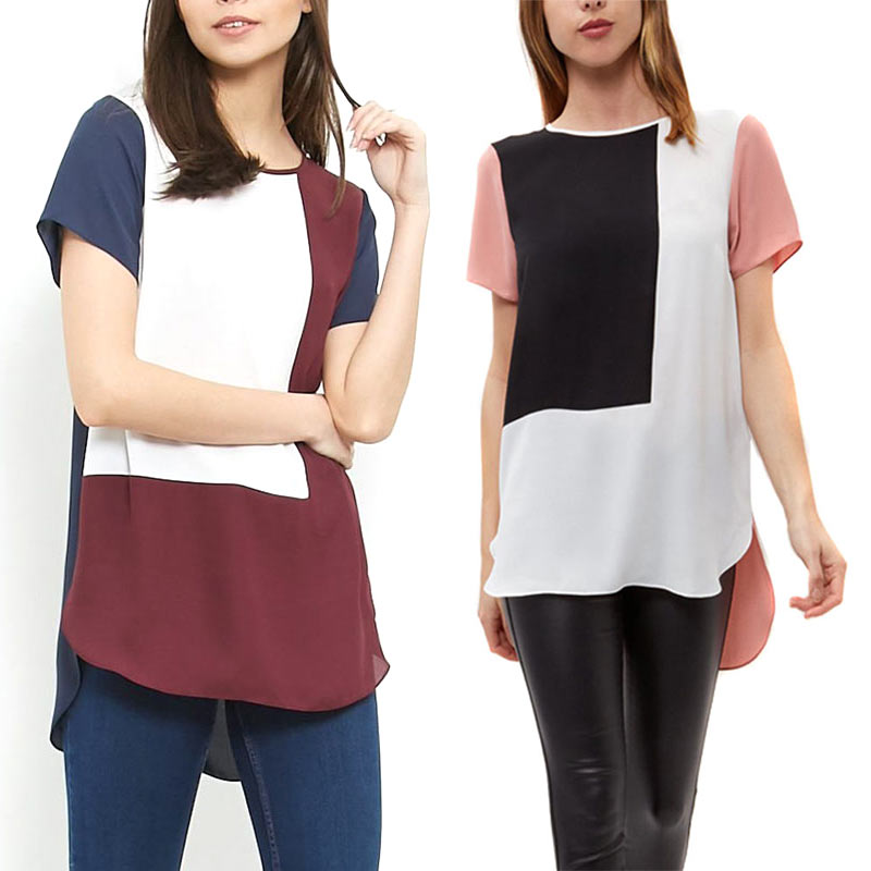 Fashion Women Loose Long Chiffon   Blouse   Casual Patchwork Summer Geometric   Blouses     Shirt   Plus Size 6XL New