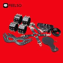 7 Pcs sexi set sex toys for women PU leather SM Bondage set hand cuffs whip belted erotic rope sexy toys couple gag QW30
