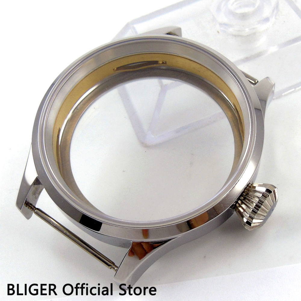 Polished 43MM BLIGER Sapphire Crystal Glass 316L Stainless Steel Watch Case Fit For ETA 6497 6498 Hand Winding Movement C94 46mm matte silver gray stainless steel watch case fit 6498 6497 movement watch part case with mineral crystal glass