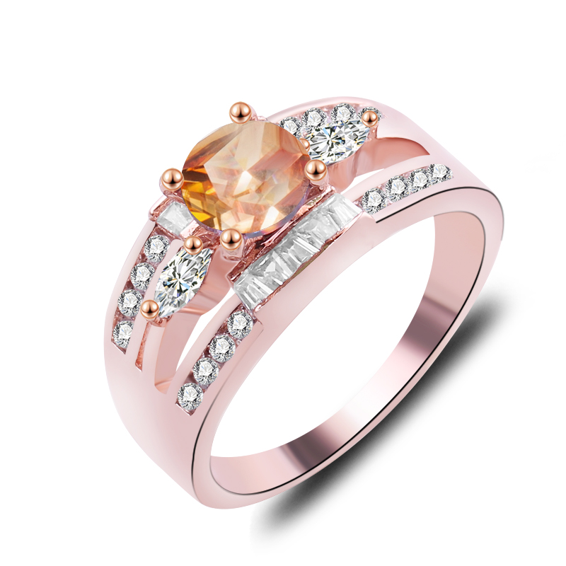 Charm Multicolor Round Zircon White Fire Opal Rings For Women Vintage Fashion Gold Silver Rose Gold Filled Birthstone Ring Ael