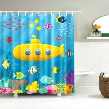 Dafield Shower Curtain For Kids Funny and Colorful Designs Owl Submarine Fish Duck Cartoon Animal World Map Fabric Bathroom