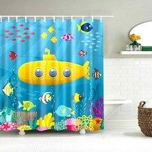 Dafield cortina de chuveiro para crianças projetos engraçados e coloridos coruja submarino peixe pato dos desenhos animados animal mapa do mundo tecido banheiro