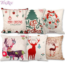FENGRISE Merry Christmas Decorations for Home Christmas Pillow Cushion Cover PillowCase Throw Pillow Covers Happy New Year Decor