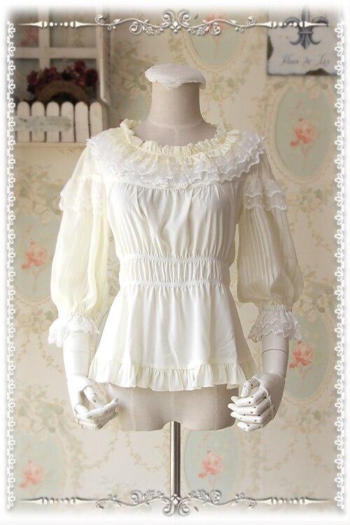 Chemisier Lolita sur mesure Infanta transparent manches bouffantes col rond dentelle à volants Blouse Top pour les femmes 5 couleurs