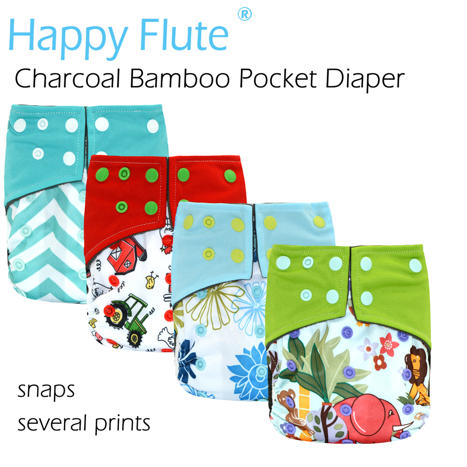 HappyFlute Waterproof and Adjustable Charcoal Bamboo Pocket Cloth Diaper with double leaking guards insight guides great breaks bath