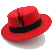 Winter Autumn Women Flat Homburg Fedora Hat for Elegant Lady Wool Pork Pie  Chapeu Boater Hat 049959506d1f