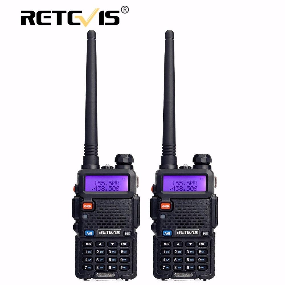 2 pz Retevis RT-5R Walkie Talkie Radio 128CH VHF UHF Dual Band Ham Radio Amador Hf Transceiver 2 Way Radio cb Communicator RT5R