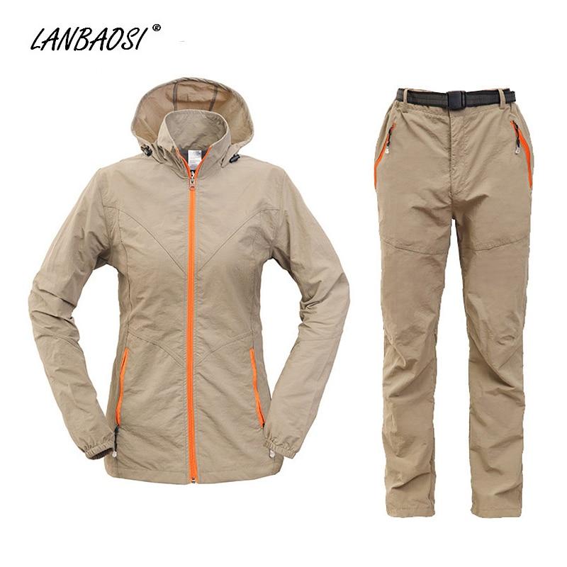 ФОТО LANBAOSI Women's Softshell Hiking Camping Hooded Jackets & Pants 2PC Set Quick Dry Waterproof Windproof Climbing Trekking Coat