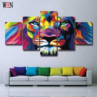 HD Printed Lion Picture With Framed Direatly Handed 5 Piece Animal Canvas Art Wall Pictures For