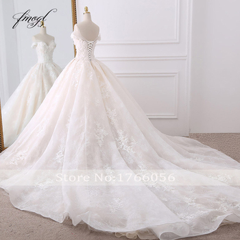 Fmogl Sexy Sweetheart Lace Ball Gown Wedding Dresses 2019 Applique Beaded Flowers Chapel Train Bride Gown Vestido De Noiva 2