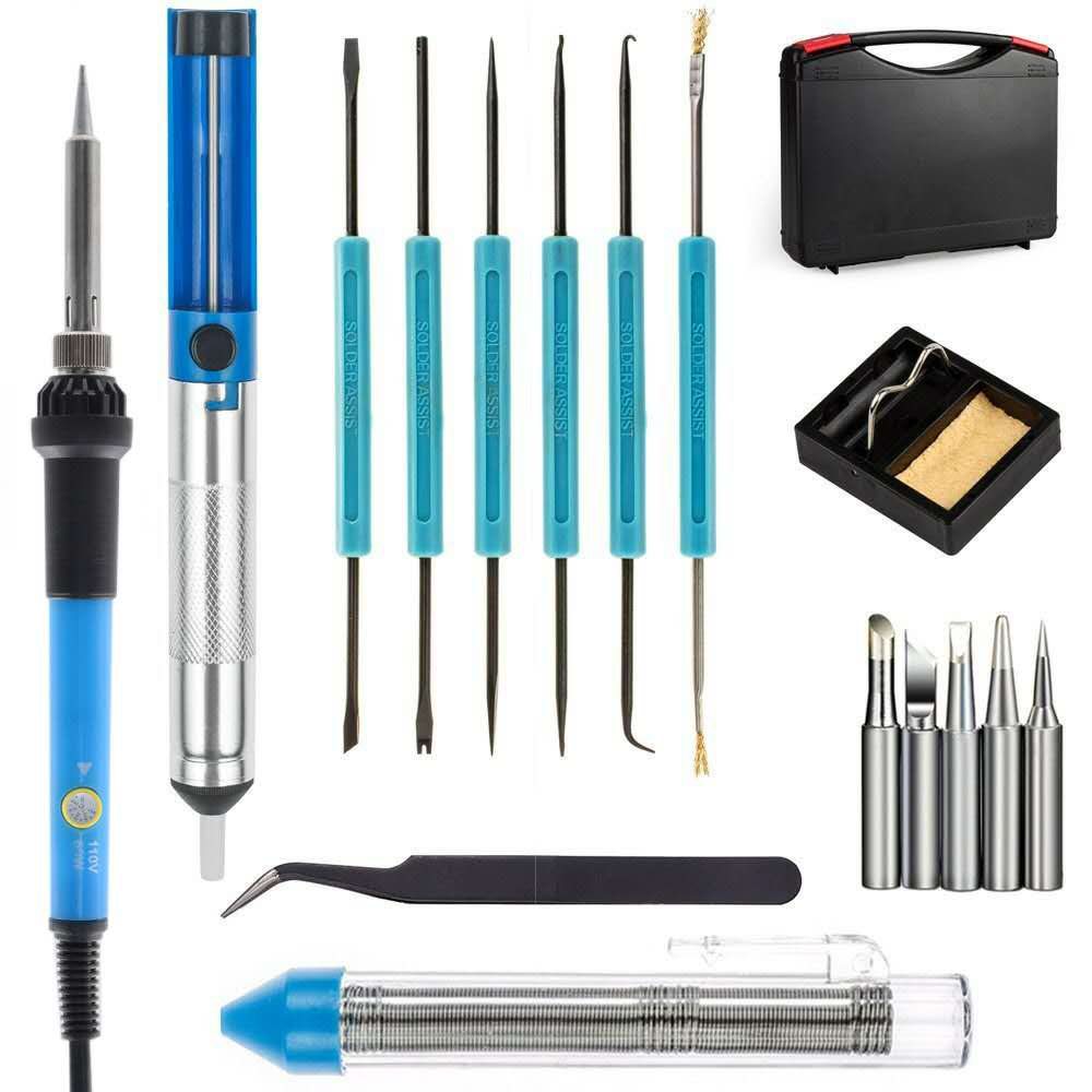 60W/110V Welding Soldering Iron with Desoldering Pump 5pcs Iron Tip Stand Anti-static Tweezers Additional Solder Tube Carry Case minki cheng юбка длиной 3 4
