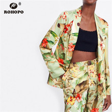 ROHOPO Autumn Women Floral Vintage Blazer Office Ladies Vogue Printed Slim Casaul Outwear #OYK9670