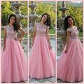 2015 New Cap Sleeve Tulle Prom Vestidos Rosa Longo Pageant vestido vestidos de fiesta A-line Vestido para 15 Anos de Pura pescoço
