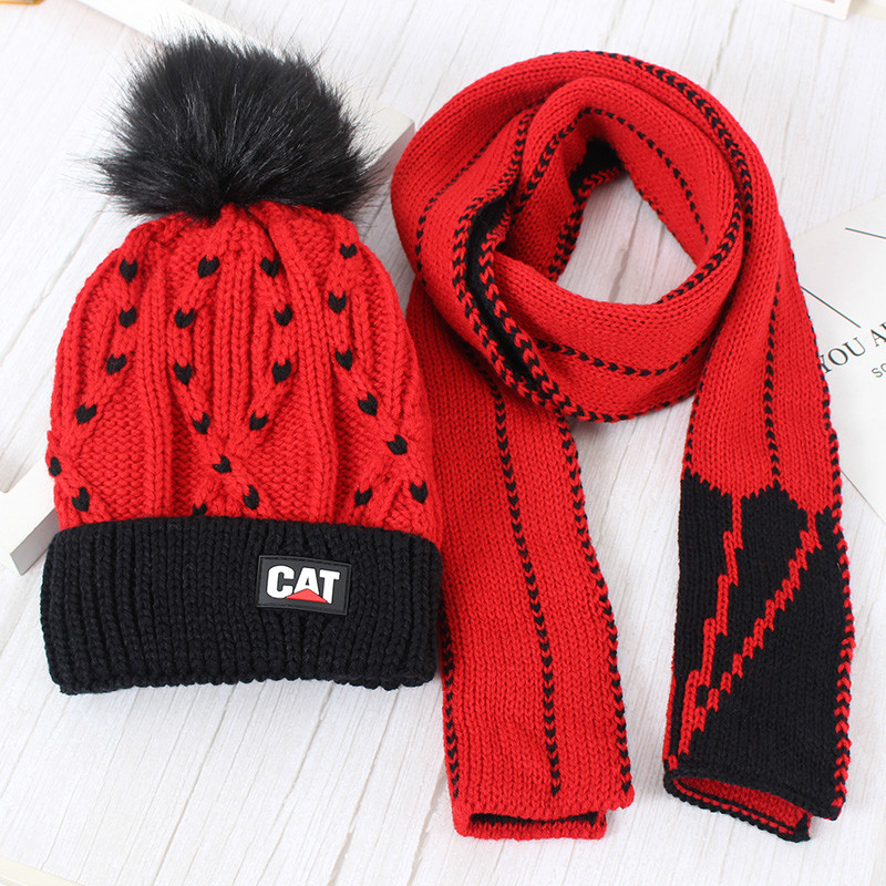 Childrens wool scarf set + hat winter plus baby  two-piece girl cap and for children