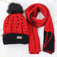Children's wool scarf set + hat winter hat plus wool baby scarf  hat two-piece girl scarf cap set hat and scarf for children цена в Москве и Питере