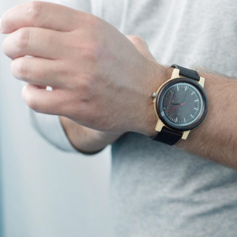 BOBO BIRD M13 Ebony Дерев'яні Аналогові Наручні Годинники Чорний Шкіряний Кварц Чоловічі Годинники Повсякденний подарунок для чоловіків  t