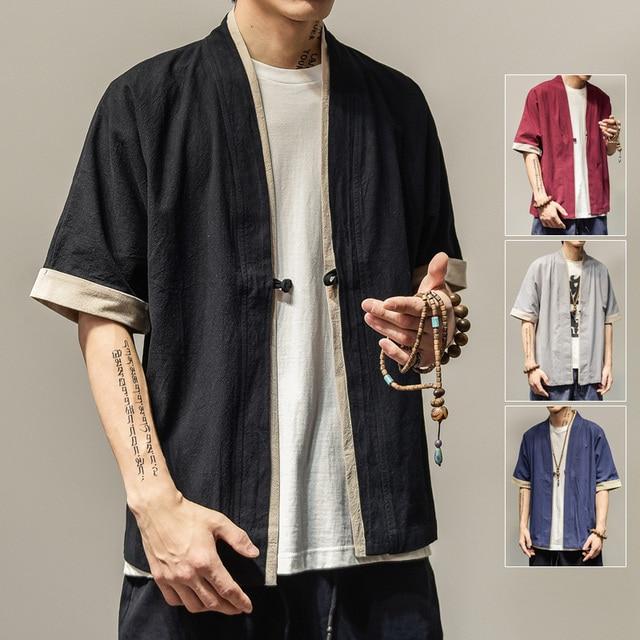 2018 winter men loose cardigan japanese kimono stripe coat high street hip hop casual outerwear men kimono japanese harajuku