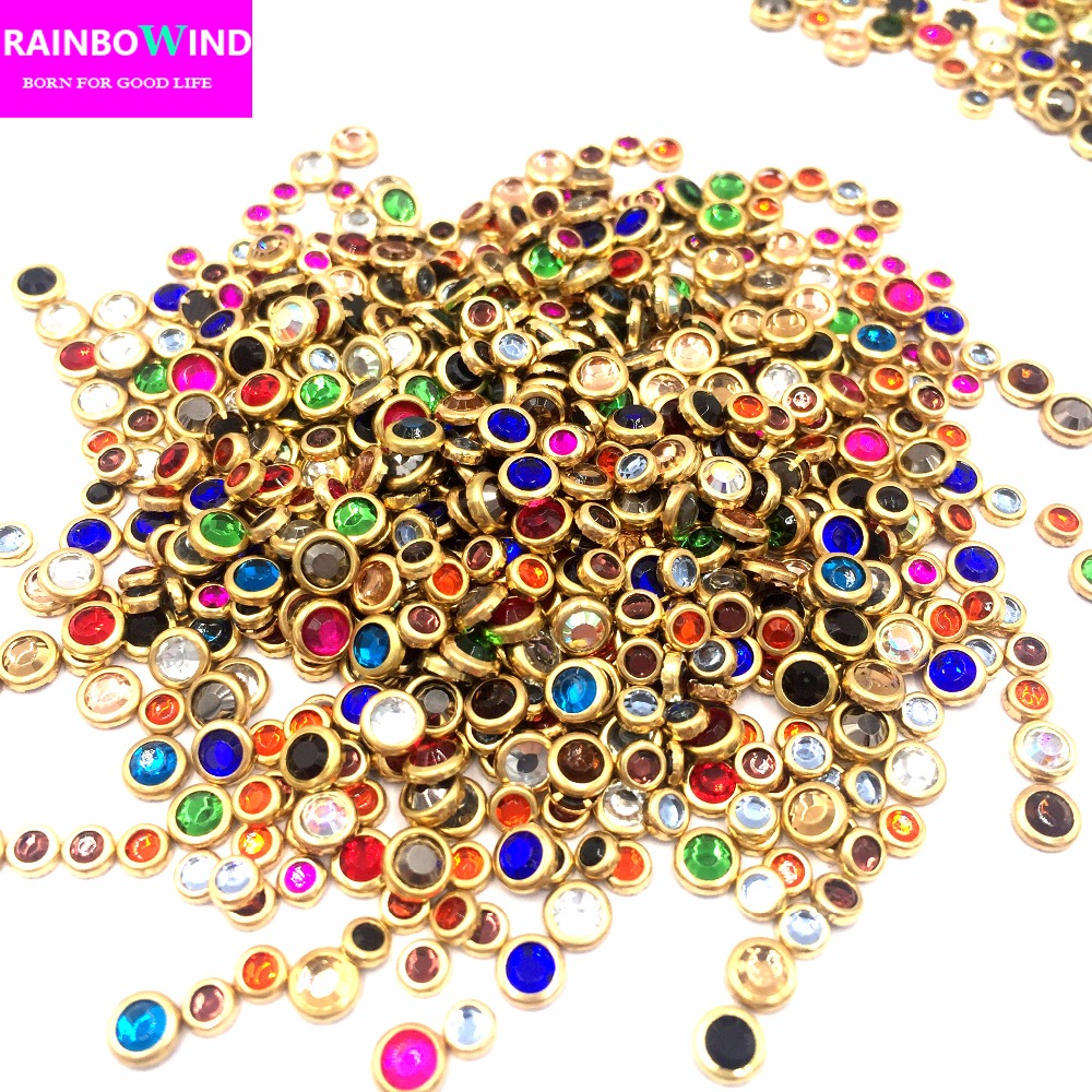 New arrival,SS10(2.8-3.0mm) strass 42000pcs/bag, gold bording Hotfix glitter cryastal Rhinestones nail art accessaries garment
