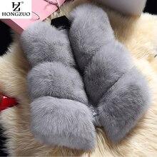 HONGZUO New 2016 Winter Women's Thick Warm Faux Fox Fur Vest High Quality Fashion O-Neck Short Fur Coat For Women Outwear PC038