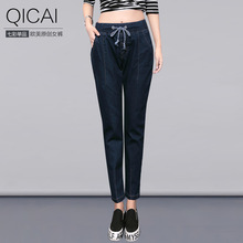 2016 новая коллекция весна повседневная джинсы женские девять брюки drawstring эластичный пояс расслабленной случайные штаны