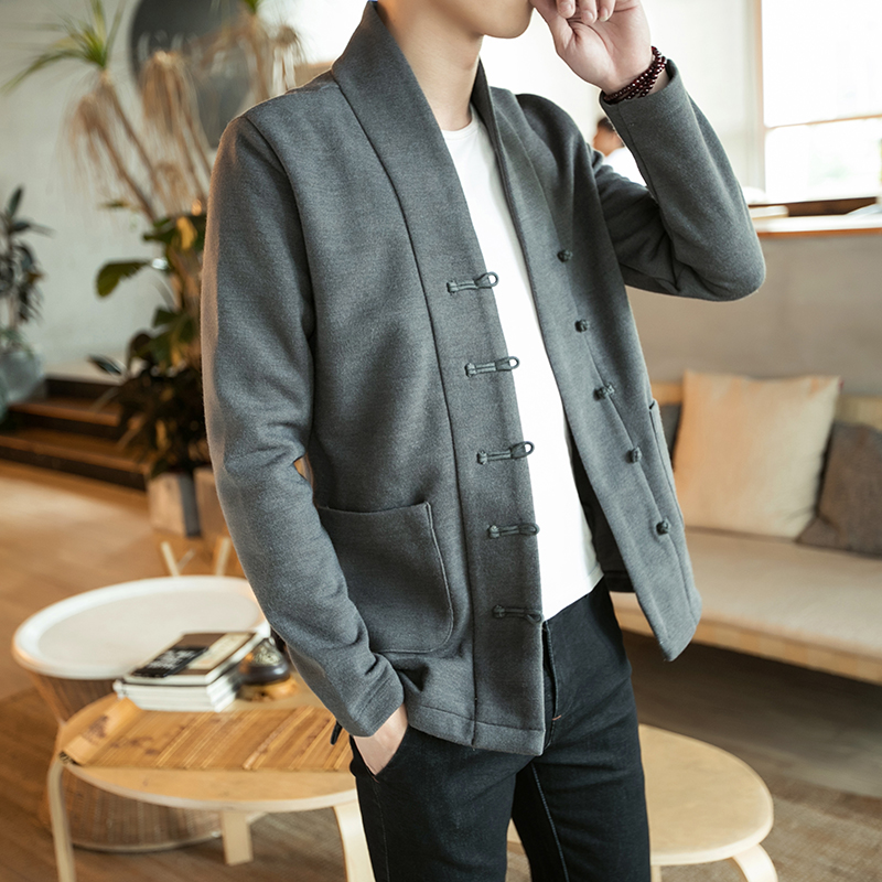 Loldeal Single breasted woolen coat Traditional chinese clothing for men jacket chinese traditional Coat