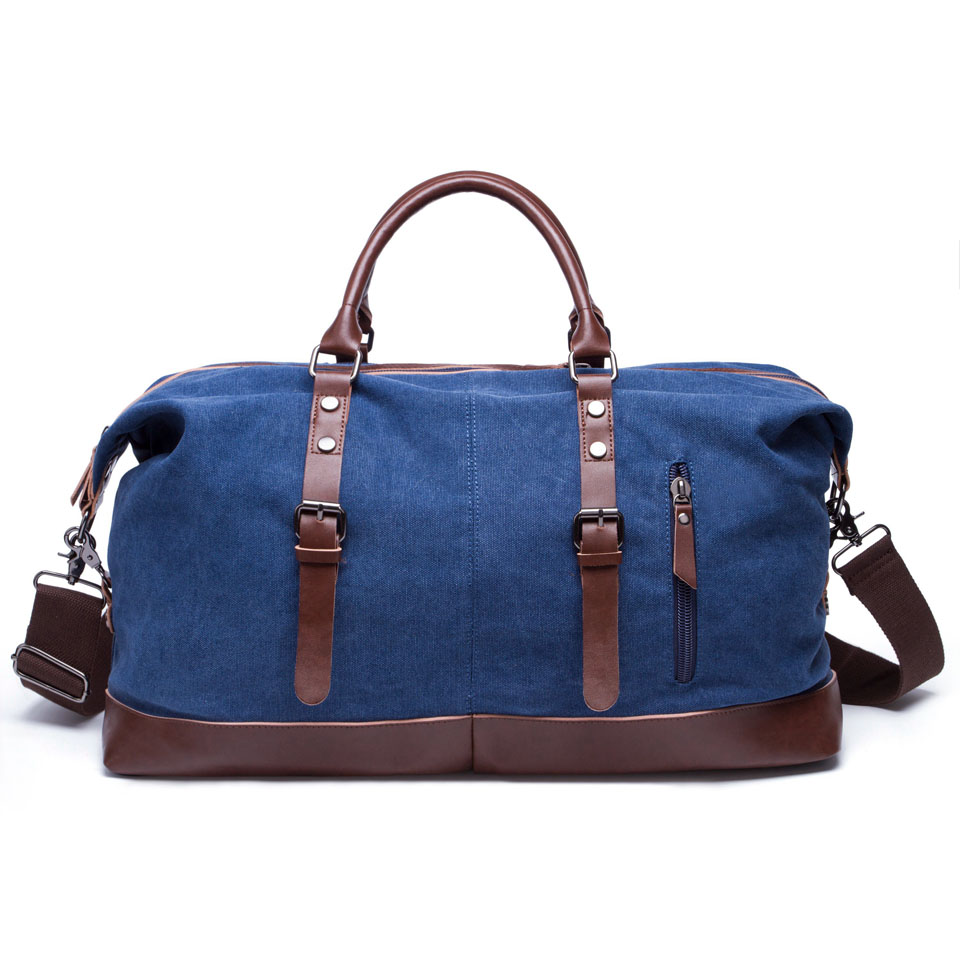 5588cbcdab71 BAIGIO Canvas Leather Men Travel Bags Carry on Luggage Bags Men ...